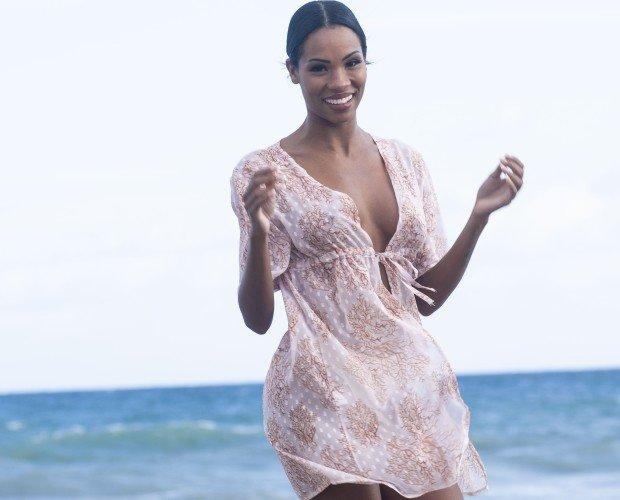 corales salmon. Beachwear, precioso tela plumeti. Fabricada en España. Precio: 25€.