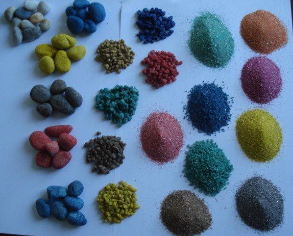 Productos de Cuarzo.Arena de colores en diferentes granulometrías.