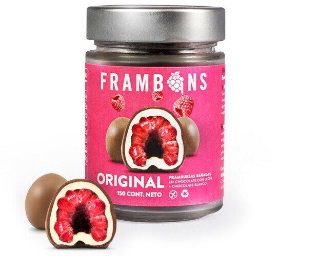 Frambons Original. Frambuesa congelada cubierta en Chocolate con Leche + Chocolate Blanco