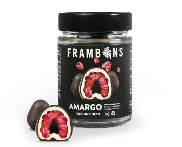 Frambons Amargo. Frambuesas congeladas cubiertas en Chocolate Negro + Chocolate Blanco