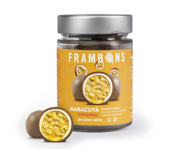 Frambons Maracuyá Original. Maracuyá bañado en Chocolate con leche + Chocolate Blanco
