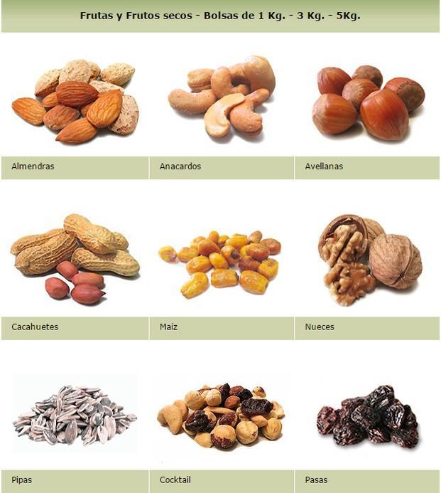 Frutos secos. Almendras, avellanas, cacahuetes y mucho más