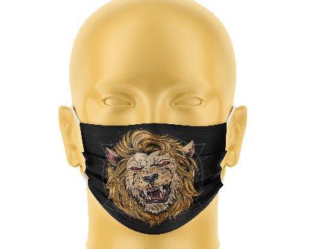 Mascarilla infantil de león. La mascarilla se puede lavar hasta 78 veces