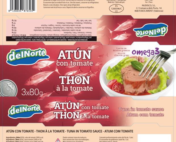 Atún al tomate. Pack de 3 latas de atún delNorte