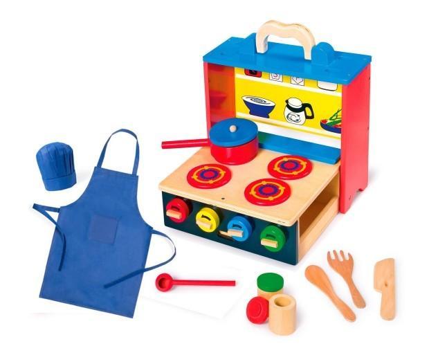 Juegos de Imitación.Cocinita de madera multicolor portátil