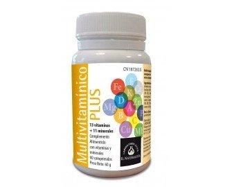 Multivitamínico plus. Fórmula completa de 13 vitaminas y 11 minerales, para compensar la pérdida de estos elementos en la vida diaria