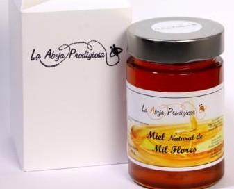 Miel Natural.Tarro de diseño con cajita, variedad Mil Flores