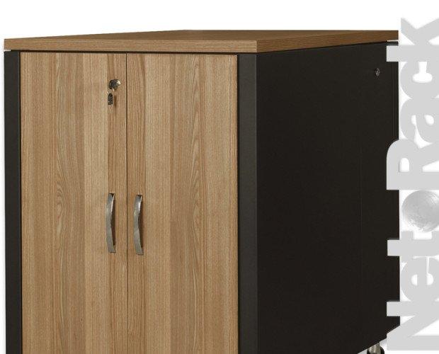Equipamiento de Comunicaciones.Armario de 17U gama SOUNDproof, 1000x750x1130 mm, superficie de madera teca, partes metálicas negras RAL 9005
