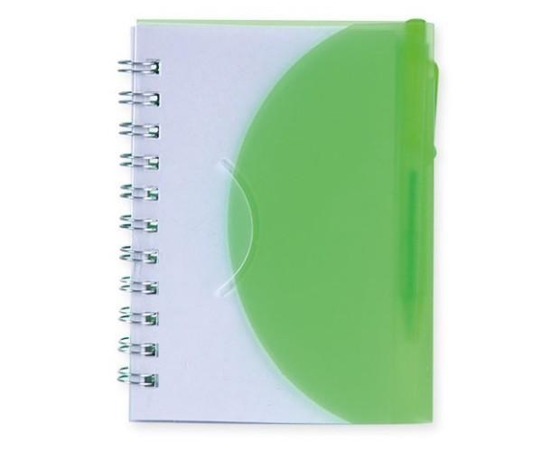 Libreta redondeada. Libreta verde y blanco