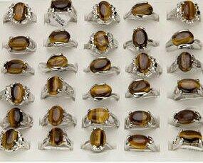 Lote 36 piedra única. Anillos piedra Ojo de Tigre,surtido de tallas.