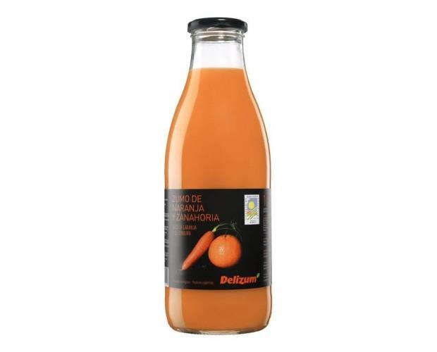 Zumo de zanahoria y naranja. Envase con tapa metálica Twist-off