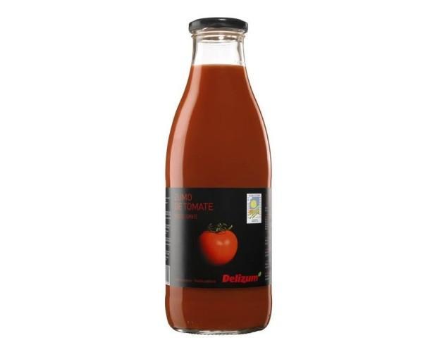 Zumo de tomate. Envase de vidrio con tapa metálica Twist-off