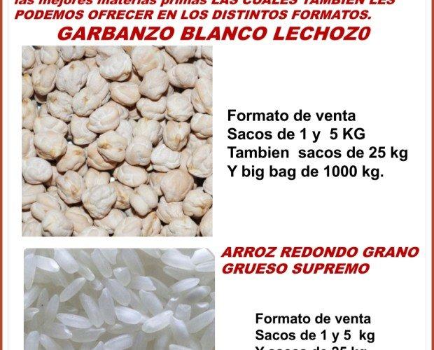 Garbanzo y arroz. Para elaborar nuestras harinas utilizamos la mejor materia prima