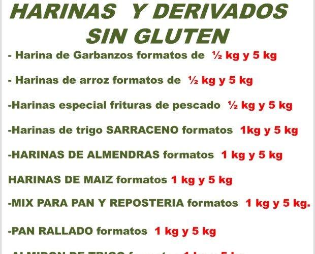 Harinas y derivados sin gluten. Contamos con diversidad de harinas y sus derivados