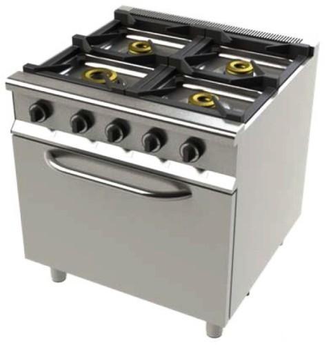 Cocina de 4 fuegos con horno. Cocinas con horno, con diferentes fondos. Cocinas restaurantes