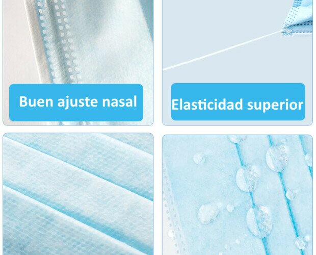 Mascarillas higiénicas. Las mascarillas higiénicas desechables vienen en cajas de 50 unidades