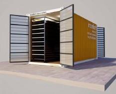Container 20 pies. Equipo deshidratador industrial formado por envolvente de 20 pies con sistema extractor en su mitad y filtros de toma de aire en laterales