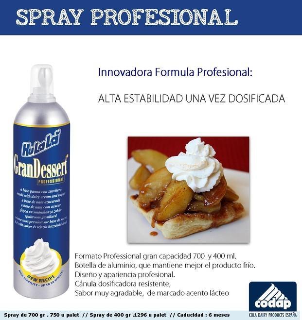 Nata.Spray Profesional Una vez servido, se mantiene firme y consistente hasta 20  minutos. Dosificador profesional