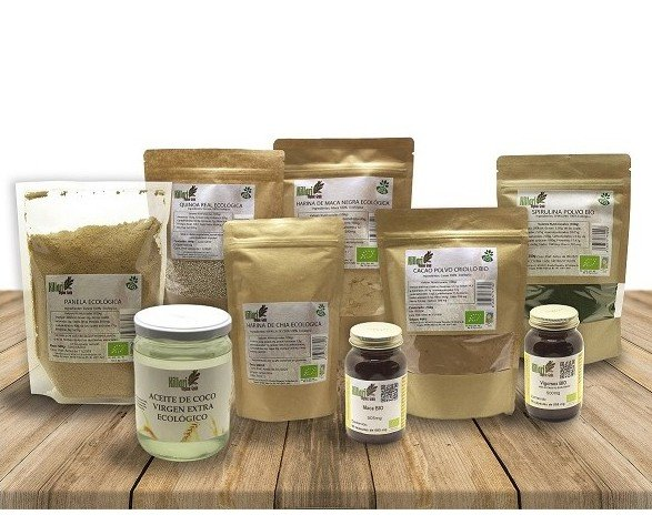 Aceites. Panela Aceite de coco Botes de comprimidos vegetales  Cacao Spirulina Quinoa