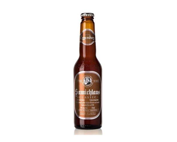 Samichlaus. Color oscuro marrón, con espuma color beige, escasa y desaparece con rapidez