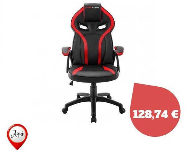 Silla gamer Mars. Silla gamer Mars gaming mgc118br roja - reposacabezas acolchado - altura regulable
