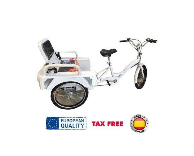 Triciclo Eléctrico. Cuenta con un motor eléctrico de 250W