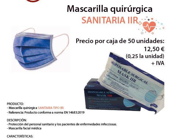 Mascarilla Quirúrgica tipo IIR. Mascarilla facial médica. Distribuida en cajas de 50 unidades