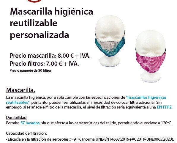 Mascarilla reutilizable. Mascarilla higiénicas reutilizable personalizadas