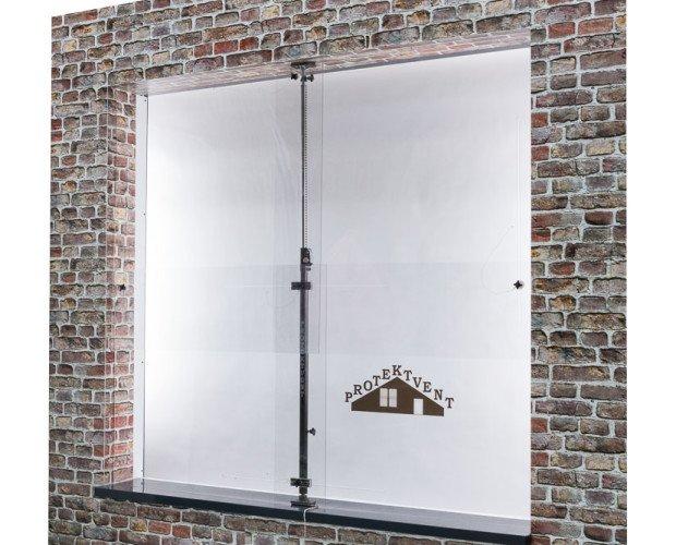 PROTEKTVENT. Dispositivo de protección para cubrir huecos de ventanas temporalmente.