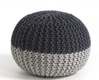 Puff Behobia. Funda tricotada de algodón en dos tonalidades del colos gris