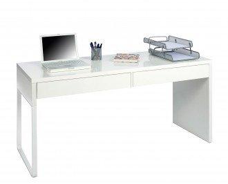 Mesa escritorio dos cajones. Fabricada en melamina blanca de altas calidades
