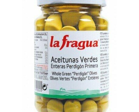 Aceitunas La Fragua. Aceitunas verdes enteras perdigón