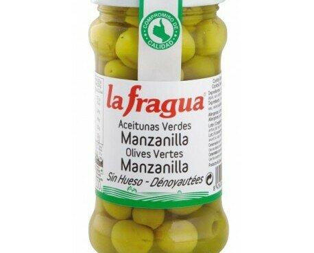 Aceitunas manzanilla. Aceitunas verdes deshuesadas en tarro