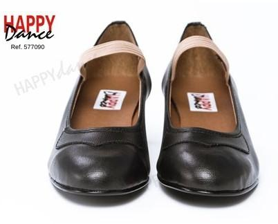 Zapato de iniciación. Zapato de flamenco iniciación sintético forrado con goma y adorno en pico