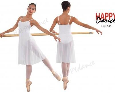 Túnica ballet. Maillot tirantes con vestido de microtull encima