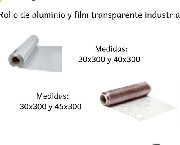 Rollo de aluminio y film industrial. Rollo de aluminio profesional y rollo film industrial