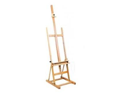 Caballete de madera. Caballete estudio de madera. Medidas: 62 x 61 x 182 cm.