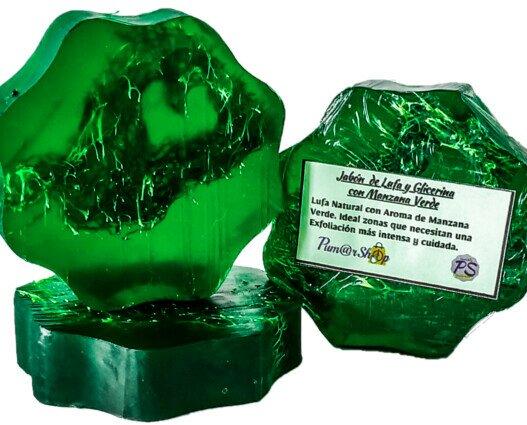 Jabón Glicerina Lufa y Manzana V.. Lufa Natural impregnada en Jabón de Glicerina con un Intenso aroma de Manzana Verde.