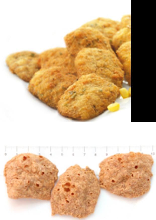 Nuggets Veg. . Nuggets deshidratados y cocinados.