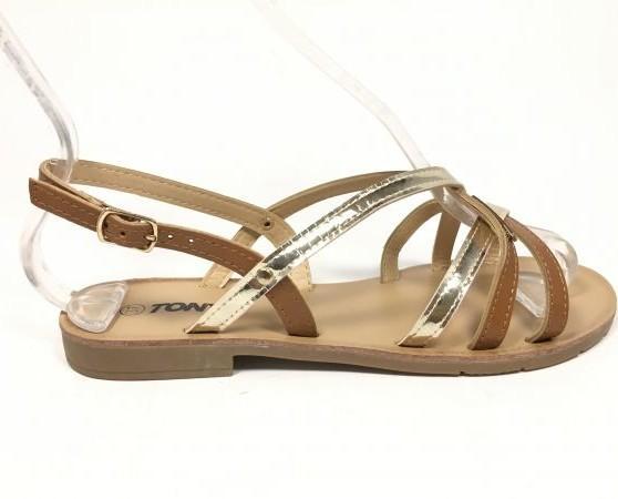 Sandalia marrón y plateado. Hermosos diseños