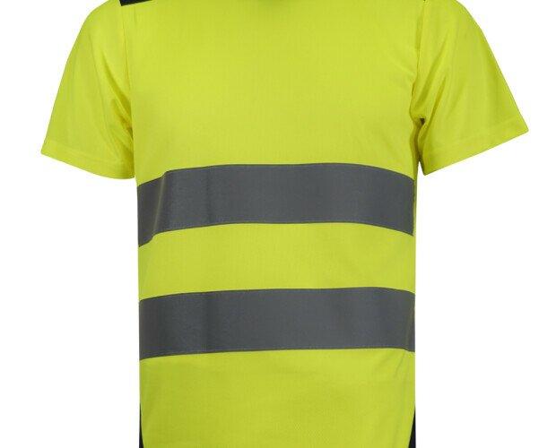Camiseta combinada. Camiseta en poliéster micropiqué combinado de alta visibilidad