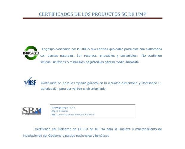Certificados productos SC de UMP. Certificados de nuestros productos