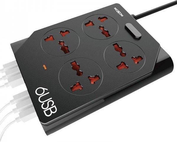 Regleta 6USB. Con inteligente USB, detectará y se adaptará a la carga necesaria de cada dispositivo conectado.