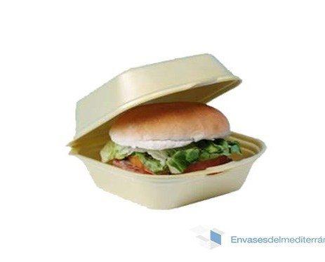 Envase para hamburguesa. Envase hamburguesas pequeñas.Medidas: 120 X 120 X 74 mm