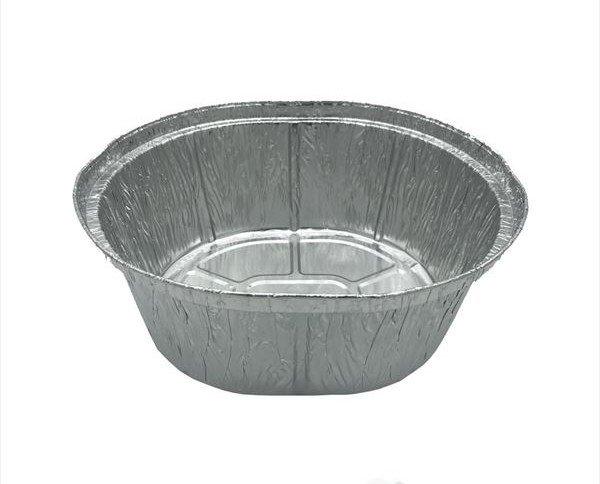 Envase ovalado. Envase de aluminio desechable para pollos asados