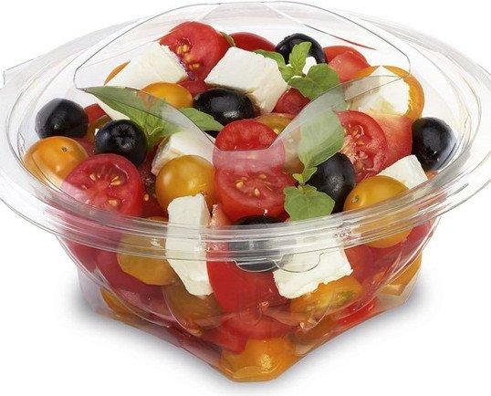 Envase para ensaladas y frutas. Tapa precortada para consumir el producto con mayor comodidad