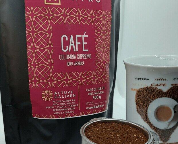Café Colombia supremo. Café 100% arábica seleccionado, Origen Colombia.