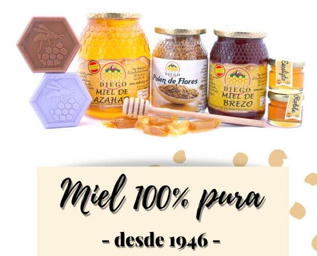 Mieles Diego 100% pura. Contamos con 9 variedades de miel, 100% pura, disponible en 4 formatos