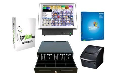 TPV pack 15' táctil. TPV, impresora, monitor y software