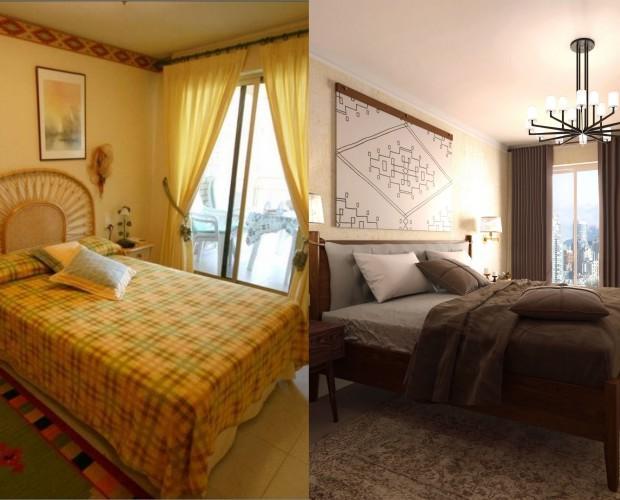 Diseño 3D. El antes y el después de un dormitorio principal.